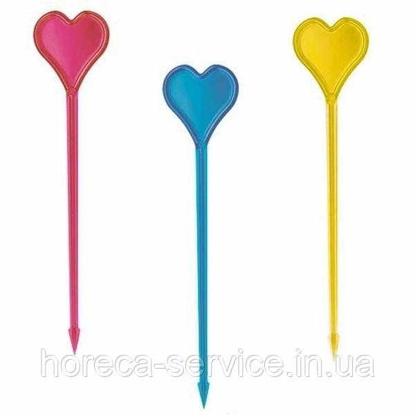 Сердце шпажка 8см. Цветная 1000шт.