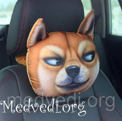 Подушка-подголовник собака, для автомобилей, 3 D принт  Акита-ину