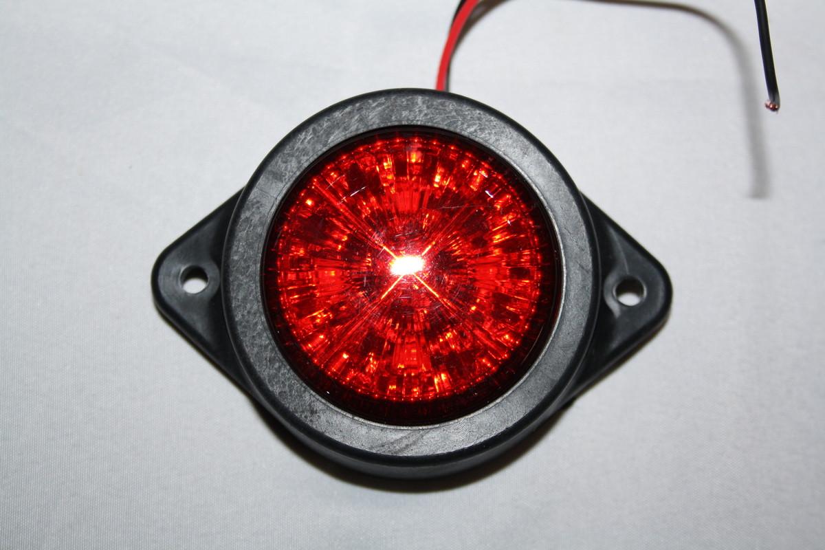Діодний ліхтарик круглий з кріпленням червоний 0036