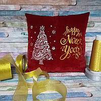 "Подушка красная ""Happy New year"" , фото 1"