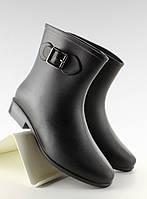 Черные женские резиновые сапоги по лодыжку с большими пряжками d32 38,37,36