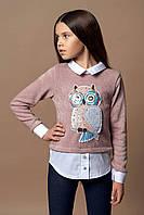 Модный свитер обманка для девочки 140-164р