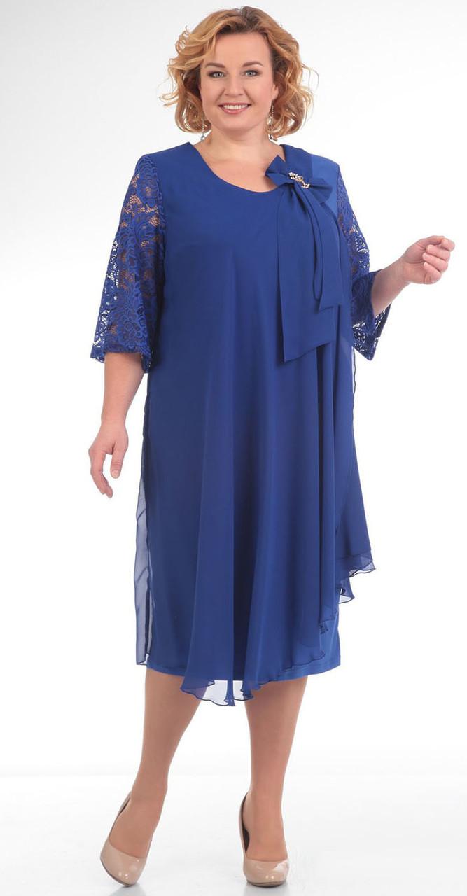 Платье Pretty-254/2 белорусский трикотаж, василек, 56