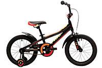 """Детский двухколесный велосипед 16"""" Pride Tiger 2018 с дополнительн. колесами ТМ PRIDE Черный/красный/жёлтый SKD-88-91"""