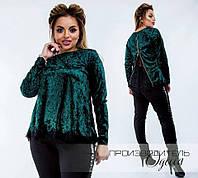 Бархатная блузка  больших размеров  48+ на спине украшена кружевом /4 цвета арт 3455-204