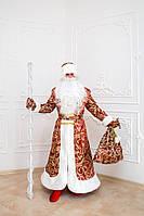 Элитный костюм  Деда Мороза красный жаккард