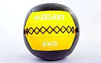 Мяч медицинский (волбол) WALL BALL 6кг (PU, наполнитель-метал. гранулы, d-33см, желтый), фото 1