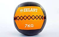 Мяч медицинский (волбол) WALL BALL 7кг (PU, наполнитель-метал. гранулы, d-33см, оранжевый), фото 1