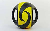 Мяч медицинский (медбол) с двумя рукоятками  6кг (резина, d-27,5см, черный-желтый), фото 1
