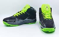 Кроссовки баскетбольные мужские Jordan (р-р 41-45, черно-салатовый) Реплика, фото 1