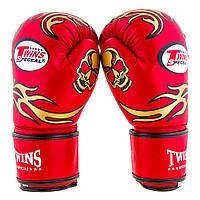 Перчатки боксерские на липучке TWINS ( красный) (8-12 oz), фото 1