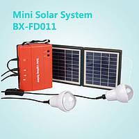 Портативная солнечная энергетическая система + 2лампы +тел. зарядки