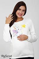 Свитшот для беременных и кормления BLINK BUNNY, из трикотажа трехнитка с начесом, молочный 1, фото 1