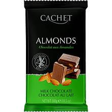 Шоколад Cachet Сhocolat au lait aux Amandes молочный 32% какао с миндалем 300г