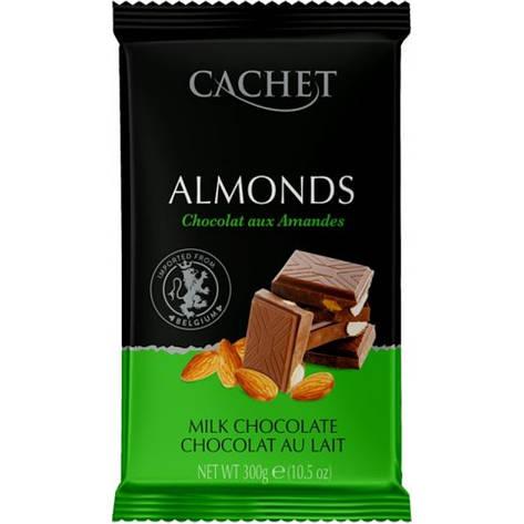 Шоколад Cachet Сhocolat au lait aux Amandes молочный с миндалем 300г, фото 2
