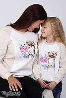 Світшот для дітей TWINK PETS SW-47.116, бежевий меланж з молочним, фото 1