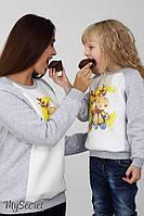 Свитшот для детей TWINK DEER, из трикотажа трехнитка с начесом, серый меланж с молоком, фото 1