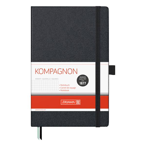 Блокнот Brunnen Kompagnon в клетку А5 192 листа черный на резинке, 105522805