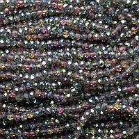 Бусины хрустальные (Рондель)  4х3мм пачка - 135-145 шт, цвет - радужный прозрачный №2 с АБ