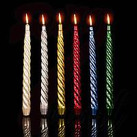 Свеча декоративная витая перламутровая темная h- 25см(6 цветов)