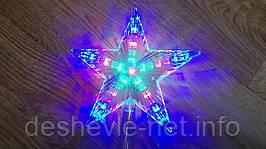 Звезда-наконечник на елку LED, микс цветов,  22 см, прозрачный провод 95 см,