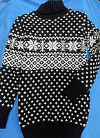 Свитер, туника для девочки школьного возраста ,туника вязанная со снежинками