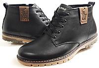 Мужские Зимние Кожаные ботинки U.S. Polo шнурок молния чёрные Польша