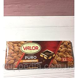 Чёрный шоколад Valor с цельным миндалем 250 грм