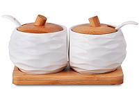 Набор из 2 баночек для сыпучих продуктов Lefard Бамбук на подставке 17х9х9 см