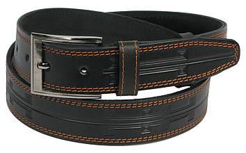 Мужской кожаный ремень под джинсы Skipper 11116 черный ДхШ: 128х3,8 см.