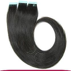 Натуральные Европейские Волосы на Лентах 60 см 100 грамм, Черный №1B