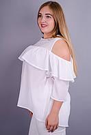 Астра. Стильная блуза супер батал. Белый.