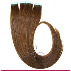 Натуральные Европейские Волосы на Лентах 60 см 100 грамм, Шоколад №04