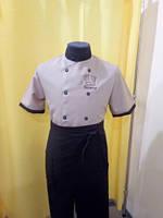 Китель (куртка) повара цвет беж, габардин, фото 1