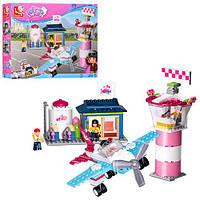 Конструктор SLUBAN M38-B0608 (16шт) Розовая мечта,аэропорт,самолет,фигурки,284дет,в кор,38-29-7см