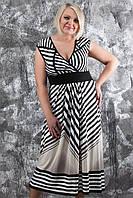 Женское летнее платье больших размеров в полоску