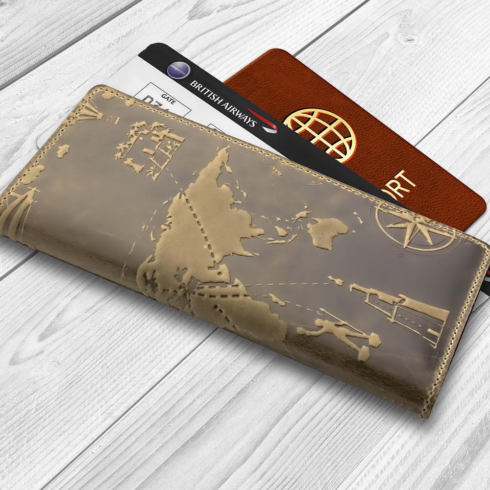 """Дизайнерский бумажник на 14 карт с натуральной кожи оливкового цвета с художественным тиснением """"7 wonders of the world"""""""
