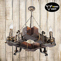Деревянный светильник на четыре свечи