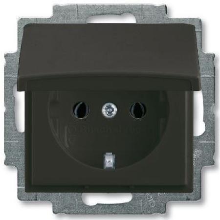 Розетка з з/к і кришкою ABB Basic 55 Чорний шато