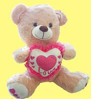 Мишка 38 см с сердечком плюшевый подарок на День Святого Валентина 8 марта для любимой девушки