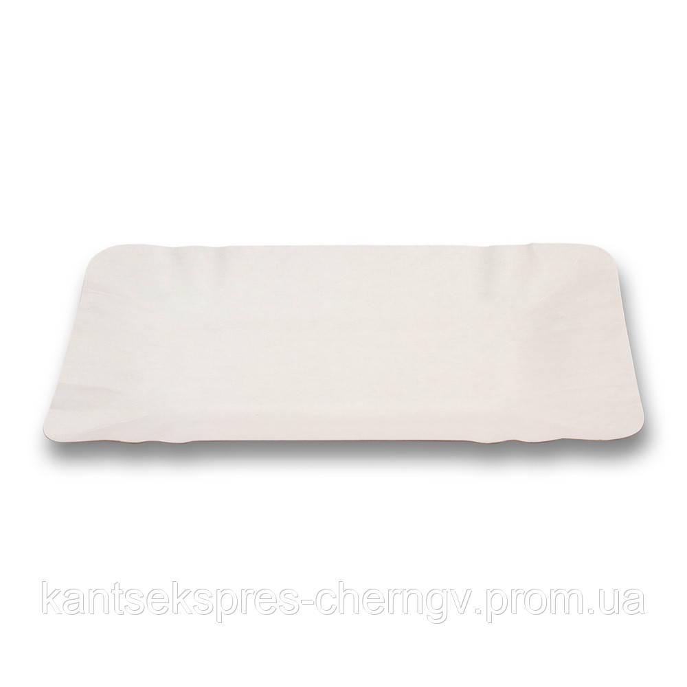 Тарелка бумажная 140 * 200 белая ламин.