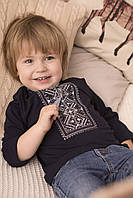 Вишиванка для хлопчика Карпатська срібна на синьому – довгий рукав