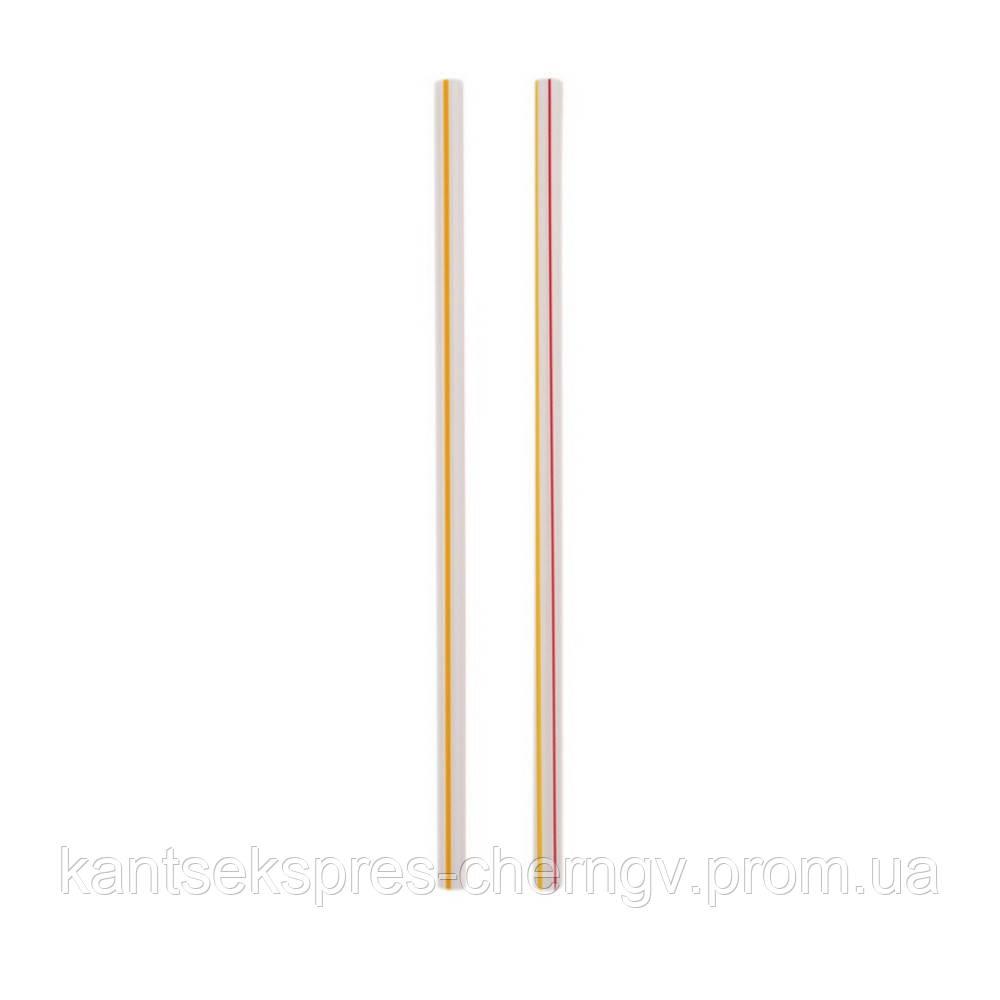 Трубочки Фреш д/напитков прямая, белая с полоской  d=6.8мм L=210мм, 500 шт Инпак