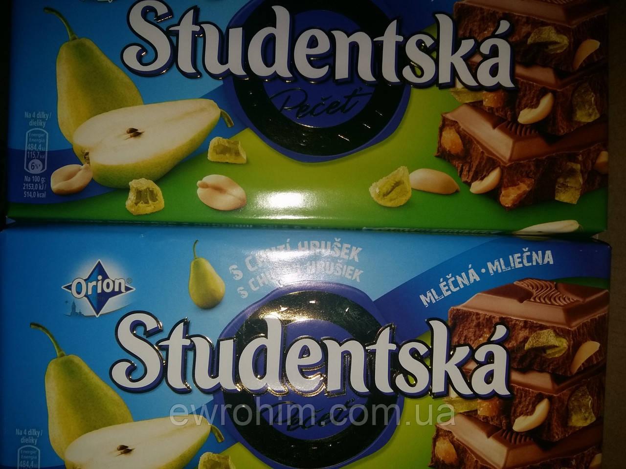 Шоколад Studentska груша/арахис в молочном шоколаде 180 г