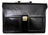 Мужской деловой портфель из натуральной кожи. Черный. Италия, фото 1