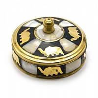 Шкатулка бронзовая с перламутром (d-7,h-3,5 см) Код:25805