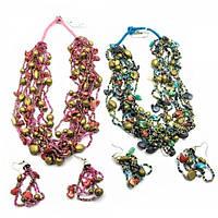 Ожерелье из бисера и ракушек + серьги Код:18357