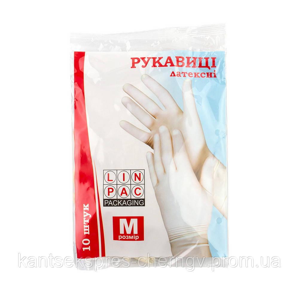 """Перчатки латексные  с пудрой (M) 10 шт """"Linpac"""""""