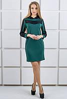 """Платье с капюшоном из гипюра """"Камита"""" р. 44-52 зеленый"""