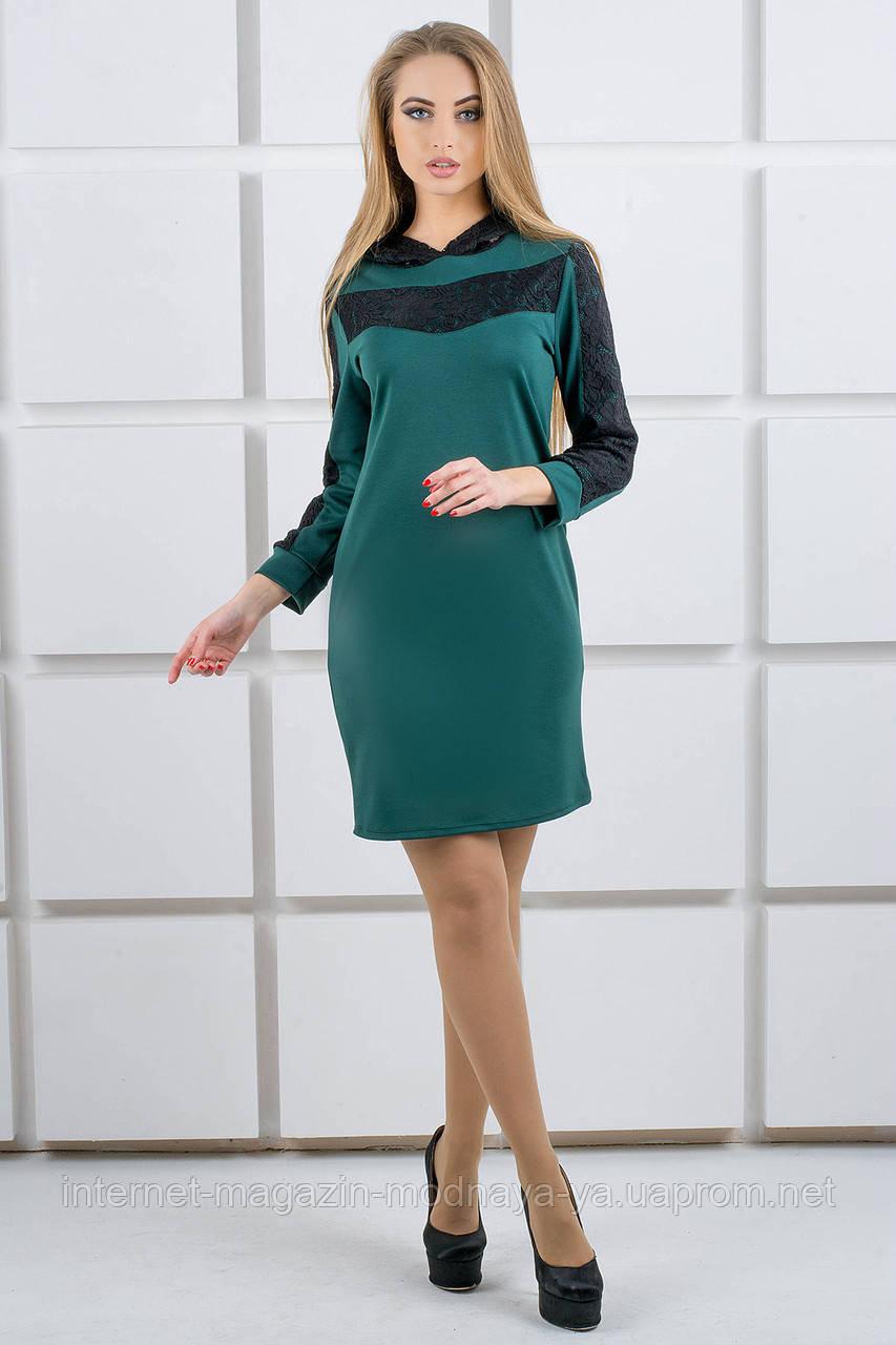 """Платье с капюшоном из гипюра """"Камита"""" р. 52 зеленый"""